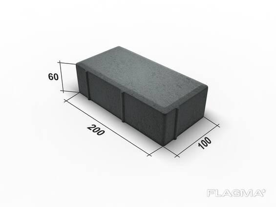 Тротуарная плитка. Кирпичик серый 6 8. Цветной
