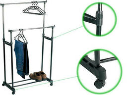 Вешалка Двойная напольная на колесах для одежды SVS 2