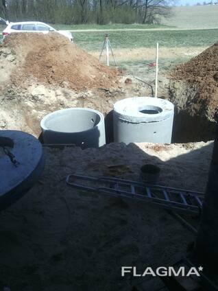 Канализационные кольца, монтаж канализации.