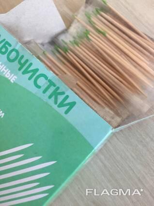 Зубочистки деревянные 500 шт/уп с ментолом в индивидуальной упаковке